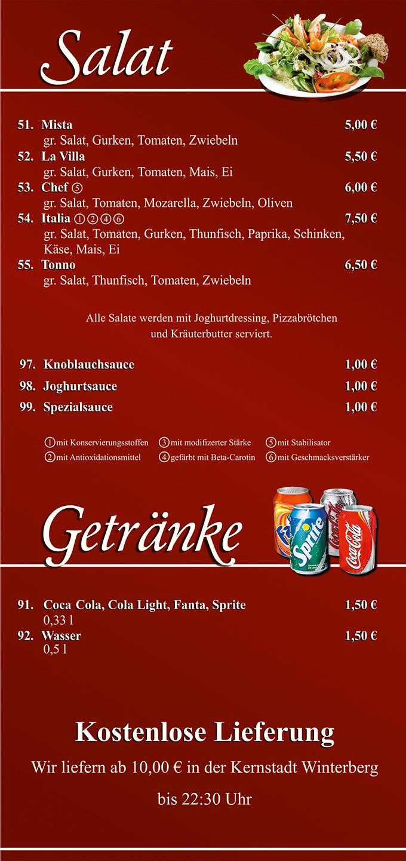 Pizzahaus Restaurant Winterberg Salat und Getränke